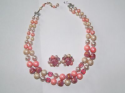 50s Demi Parure Collier+ Ohrclips Faux-Glasperlen Rosé sign. japan