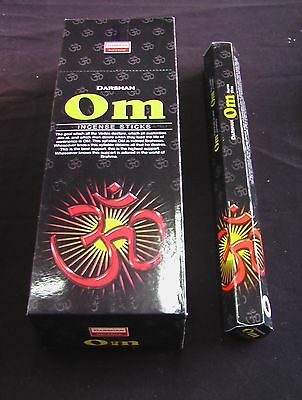 Darshan Incense Sticks 6 Hexagonals Boxes = 120 Sticks Om Scent