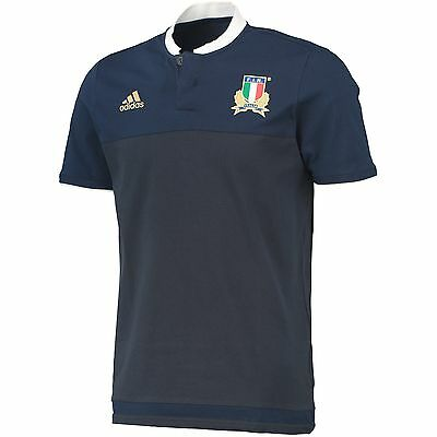 Adults Medium Italy Rugby Anthem Polo Navy H97