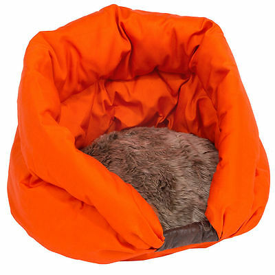 Orange  Warm Fleece Igloo/Cave Pet Bed with Fur Trim For Dog/Puppy/Cat/Kitten