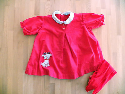 Vtg 1960's NANETTE Red White Cotton Baby Dress & Tights Great Cond