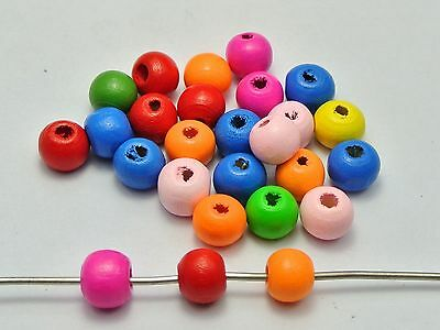 200 Mixed Bright Candy Color 10mm Round Wood Beads~Wooden Spacer