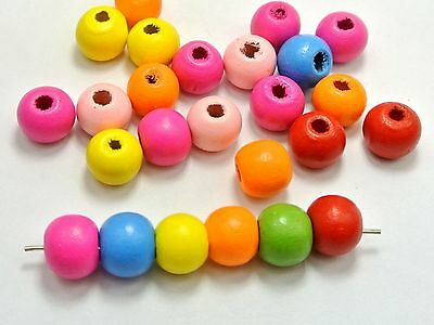 """100 Mixed Bright Candy Color 12mm(1/2"""") Round Wood Beads~Wooden Spacer"""