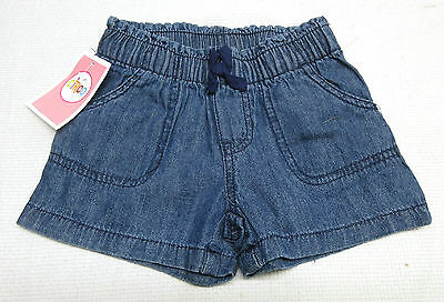 NWT Circo Girl's Blue Denim Shorts Stretch Waist Front Pockets Toddler Sizes