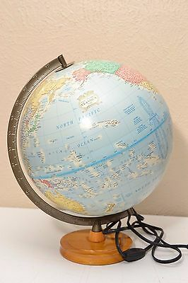 "Vintage Globe The George F Cram Company Classic 12"" diameter 16"" tall with Light"