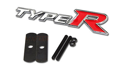 White Red TYPER TYPE R Chrome Metal Hood Front Grille Grill Badge Emblem For HO