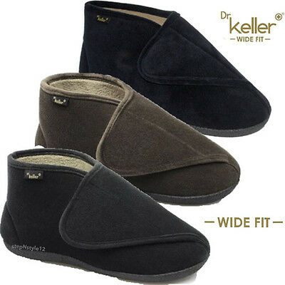 d11b2a0cc97 Dr KELLER MENS NEW EXTRA WIDE SOFT TOUCH STRAP FASTENING PADDED BOOTEE  SLIPPERS