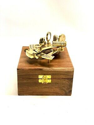 "4"" Antique Brass Pocket Sextant Navigation Nautical Marine Vintage Wooden Box"