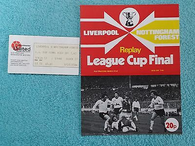 1978 LEAGUE CUP FINAL REPLAY PROGRAMME + MATCH TICKET - NOTTS FOREST v LIVERPOOL
