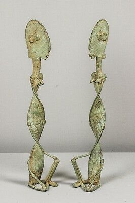 Dogon couple of ancestors (nommos?) in bronze – African, tribal art