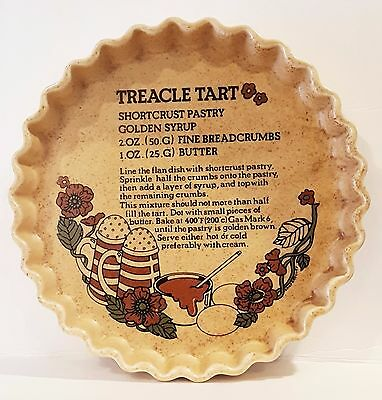 Ceramic Ulster TREACLE TART Pie Flan Dish with Recipe Made in Ireland