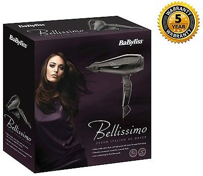 Babyliss Belissimo 2400W Professional Salon Ionic Hair Dryer + Concentrator New