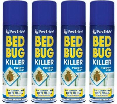 4 x Bed Bug Killer Spray Insect Carpet Mattress Treatment Eliminate Bugs 200ml