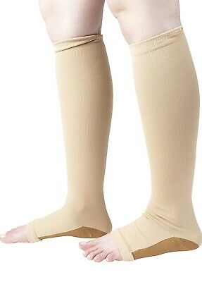 New COPPER Compression Socks OPEN TOE Knee High Leg Support Stockings (S-XXL)