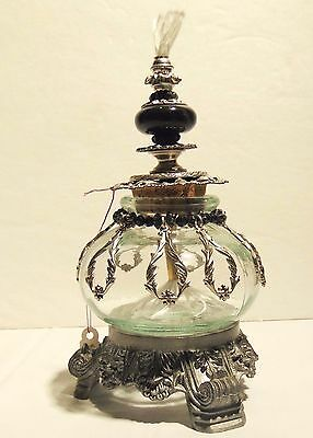 Oil Lamp Glass W/ Silver Accents Beaded & Stand Hand Made Mother's Day USA Made