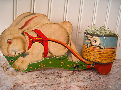 Vntg Great Fisher Price Easter Bunny Rabbit Cart Pull Toy #5 Easter Wood REDUCED