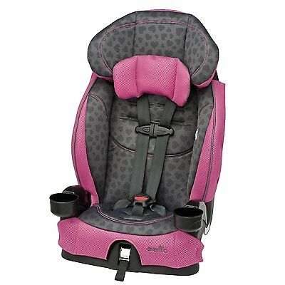 Evenflo Booster LX Car Seat Hearts Toddler Child Gray Pink Harness Headrest NEW