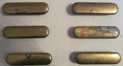 Lot of 6 Vintage Brass Pulls Rounded Rectangle Cabinet/Drawer Handles #1B