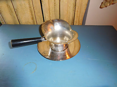 Vtg F B Rogers 856 Silverplate Gravy Server Sauce Pot Chocolate Wood Handle