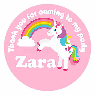 Personalised Unicorn Rainbow Pink Birthday Party Bag sweet cone Stickers