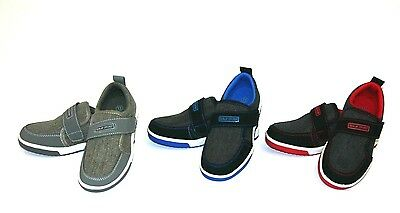 New Boys Tennis Shoes Canvas Athletic Sneakers Youth Kids Strap Skater Size 10-4