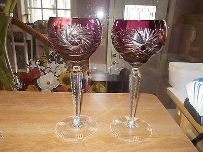 Pair Vintage Purple/Plum Pinwheel Cut to Clear Crystal Wine Hocks Goblets