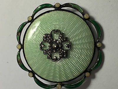 ANTIQUE 925 Sterling Silver Enamel Flower Brooch Masterpiece Private Collection