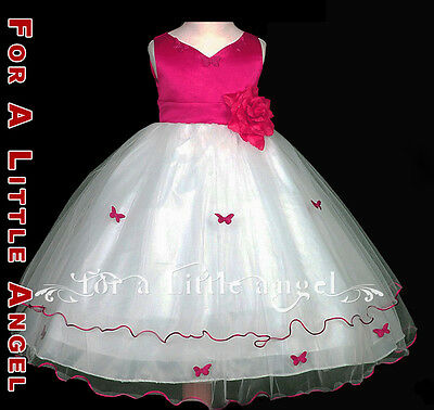 Fuchsia / White Flower Girl Dress Pageant Holiday 600 size 4
