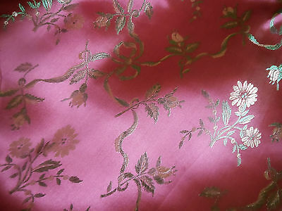 Vintage French Satin Floral Roses Ribbons Brocade Fabric ~ Deep Pink Green