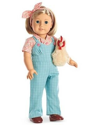 NIB American Girl Kit Chicken Keeping Set with Overalls, Bow, Chicken NEW!