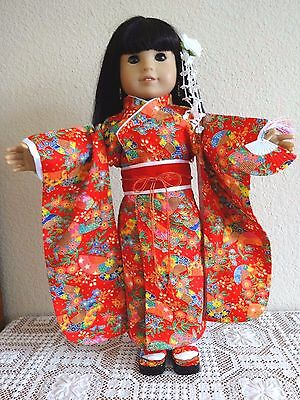 """NEW-DOLL CLOTHES-RED JAPANESE KIMONO Costume fits 18""""Doll such as AG Doll-#278"""