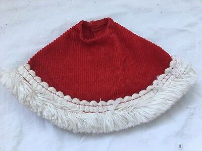 Vintage Knock Off Barbie Doll Clone Outfit RED CORDUROY PONCHO with Fringe
