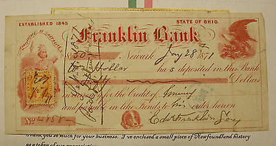 1871 Franklin Bank Deposit Slip State Of Ohio - With Stamp