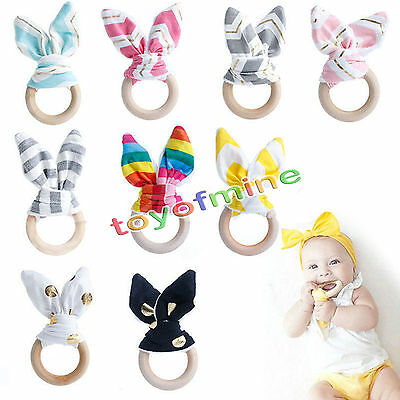 Wooden Baby Teething Ring Natural Handmade Chewie Teether Bunny Sensory Gift Toy