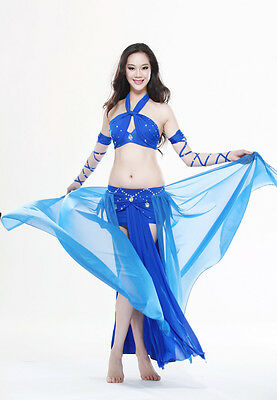 New Belly Dance Costume Stage Club 4 Pics Bra&Skirt&Arm sleeve