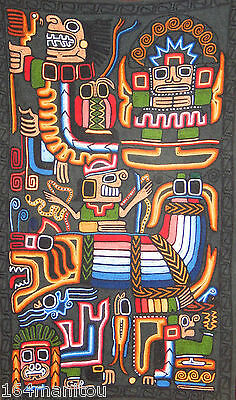 MEXICAN Aboriginal Wool applique wallhanging, 3'x4.5', colours galore
