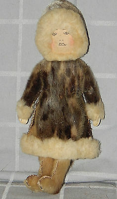 """Vintage Inuit Eskimo Doll: WOMAN suede head , traditional seal clothing fur: ~9"""""""