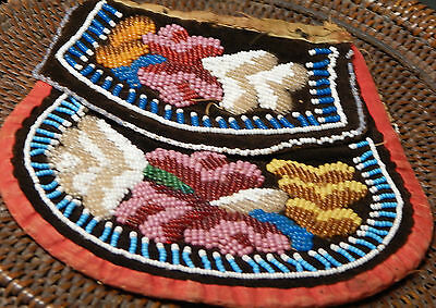 Vintage Inuit/ First Nations Beaded purse or pin cis, turn of the century, 5x4x2