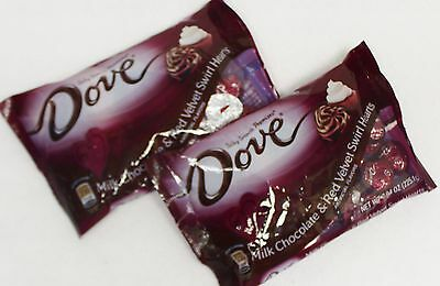 2 Bag Dove Milk Chocolate & RED VELVET SWIRL HEARTS Candy 7.49 oz