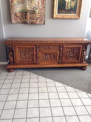 Oak French Carved Sideboard 8 Foot 4 In. Long