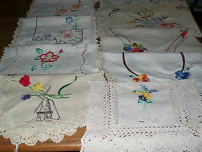 Stunning lot of 10 vintage embroidered large doilies. VGC