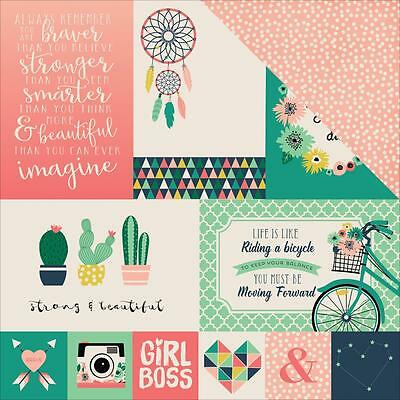 """Echo Park - Just Be You 4x6 JOURNALING CARDS - 12x12"""" d/sided scrapbooking paper"""