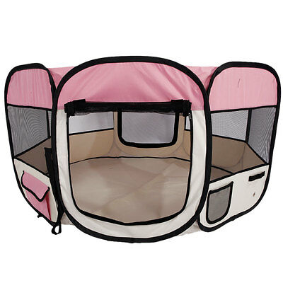 """45"""" Kennel Pet Fence Puppy Soft Oxford Playpen Exercise Pen Folding Crate Pink"""