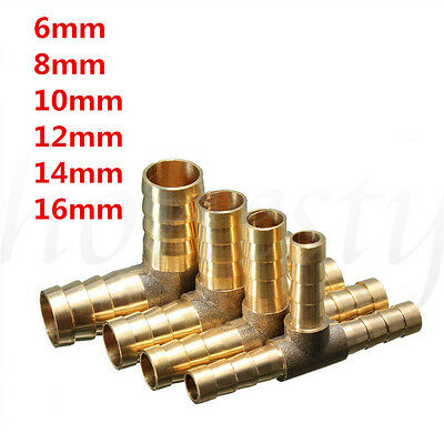 6~16mm Brass T Piece 3 Way Fuel Hose Connector For Compressed Air Oil Gas Pipe