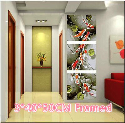 Framed Set of Three 40*50cm Painting by Number Kit Coloful Fish S5 F3P024