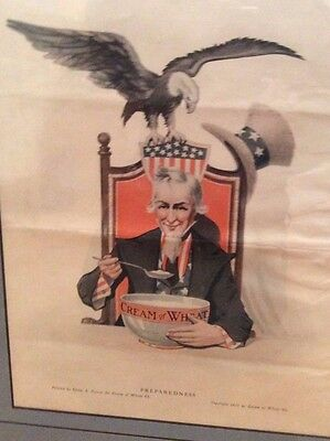 Vintage Cream of Wheat Advertisement Preparedness 1917 Galen Perrett Uncle Sam