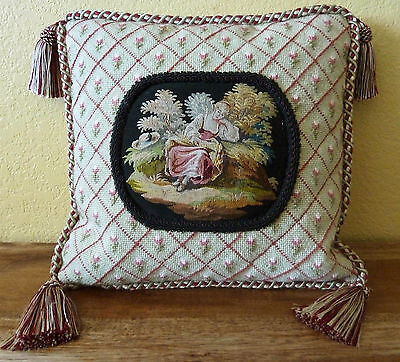 """Antique Aubusson Tapestry Framed in Needlepoint Custom Pillow - 12"""" Square"""