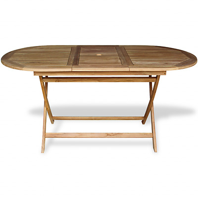 Wooden Outdoor Dining Table Teak Garden Patio Folding Furniture Wood Oval Large