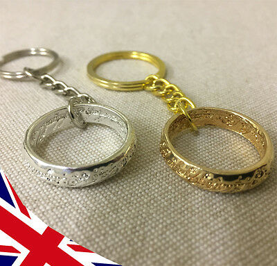 Lord of the Rings Keyring - Gold or Silver - Hobbit - LOTR - One Ring -UK Seller