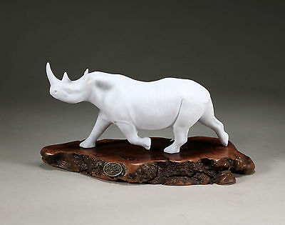 RHINO PELLUCIDA Sculpture New direct from John Perry 9in long Burl slab Statue